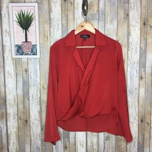 Lulu's Down To Business Red Bell Sleeve Wrap Top